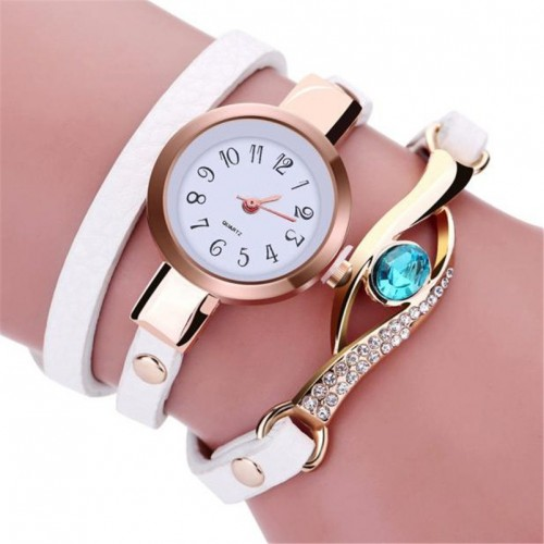 Women Fashion Rhinestone Wrap Around Leatheroid Quartz Wrist Watch