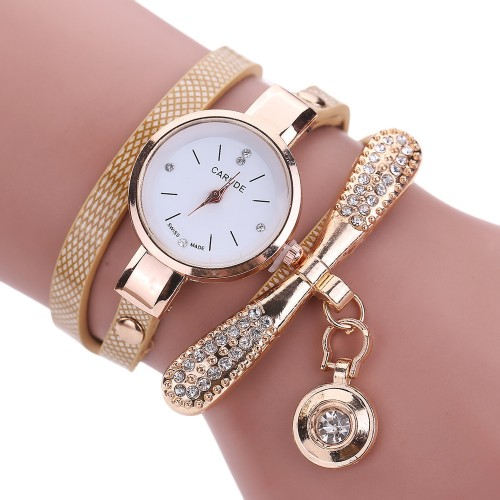 Women Watches Fashion Casual Bracelet Watch Women Relogio Leather Rhinestone Analog Quartz Watch Female