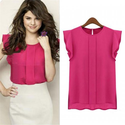 Solid O-neck Tulip Sleeve Chiffon Blouse