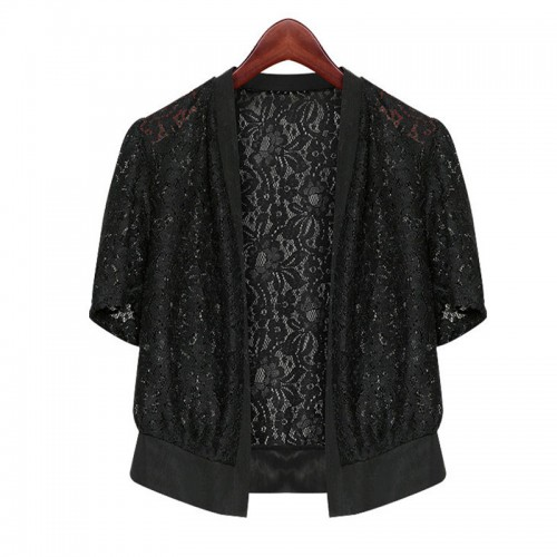 Casual Lace Cardigan Short Sleeve Top Shrug