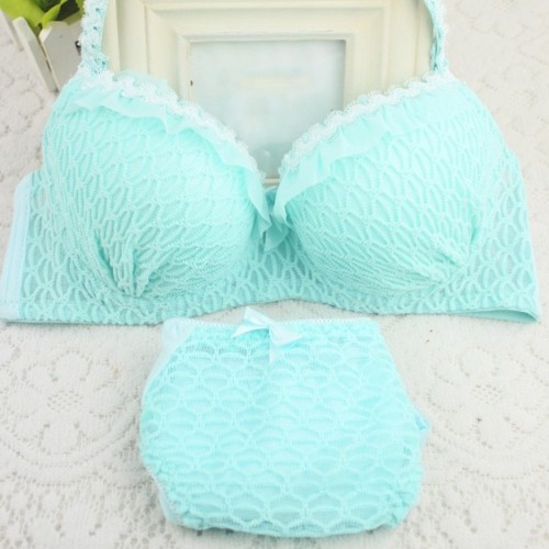 Seamless Lace Bras Set Adjustable Strap Ruffle Push-Up 3/4 Cup Lace Underwear Bra Set