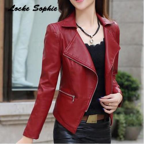 Womens Short Faux PU Leather Zipper Slim Fit Jacket