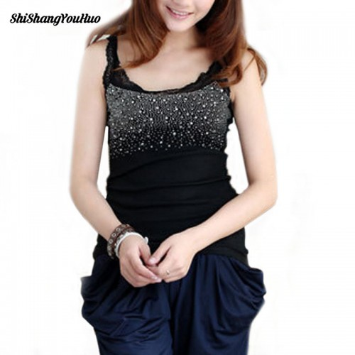 Womens Rhinestone Lace Stunning Based Sleeveless Vest Tank Top