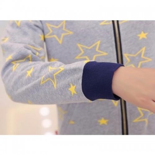 Women Clothes Jackets Fashion Coat Female Pentagram Printing Zipper Casual Top