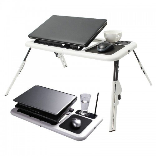 Multi-function Folding Laptop Desk Table Laptop Stand Holder With 2 USB Cooling Fans Mouse Pad For Bed