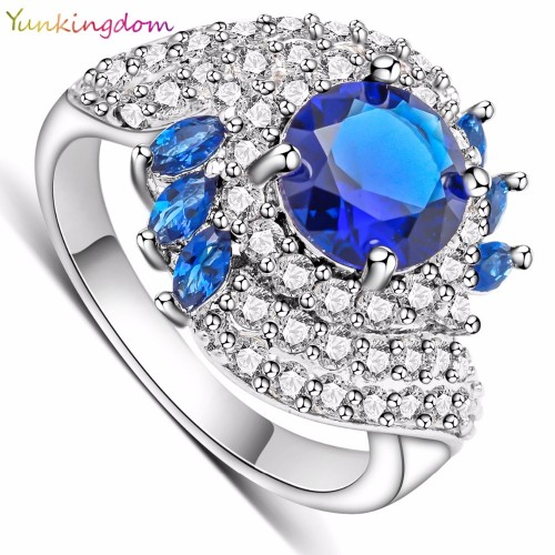 Womens Ring Party Queen Inlay Blue Zircon Crystal Engagement Rings for Women Fashion Luxury Brand Wedding Jewelry