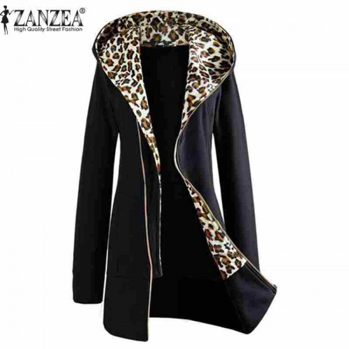 Leopard Zipper Up Hooded Coat