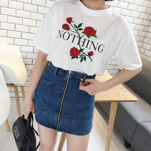 Rose Print NOTHING Letter Women Casual Short Sleeve T Shirt