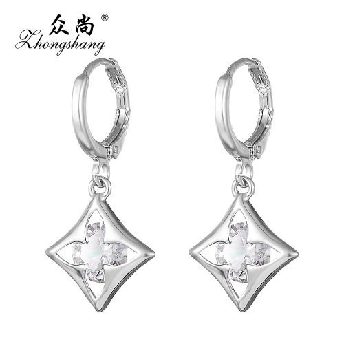 Zircon Crystal Earring Silver Plated Drop Long Earrings Flowers Rhombus Pattern Jewelry
