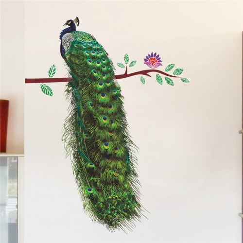 Peacock Flower On Branch Feathers 3D Wall Stickers Home Decor