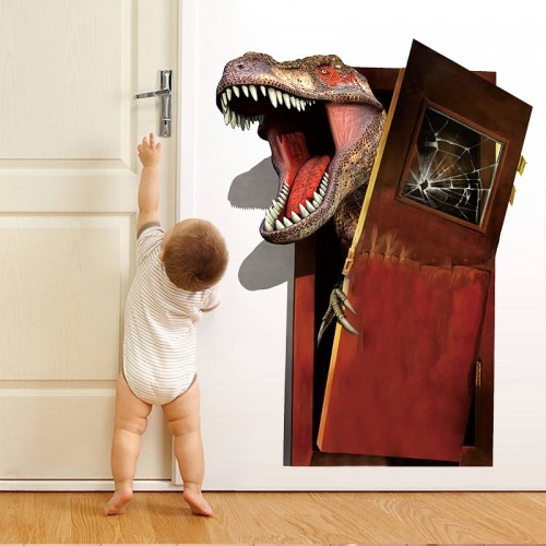 Cartoon Dinosaur Through Door Wall Stickers Kids Wall Decals Murals Poster Home Room Decoration