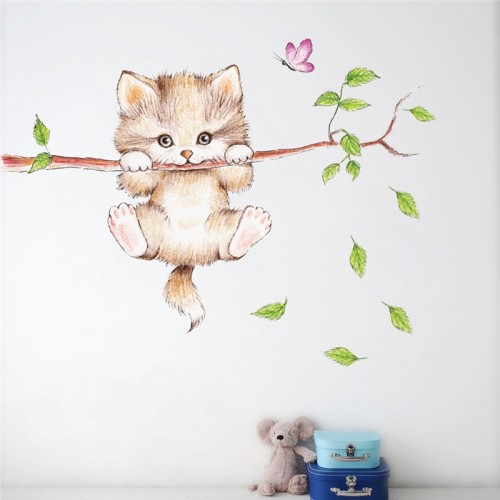 cute cat tree butterfly branch wall stickers for kids rooms home decor cartoon animal wall decals pvc posters diy mural art