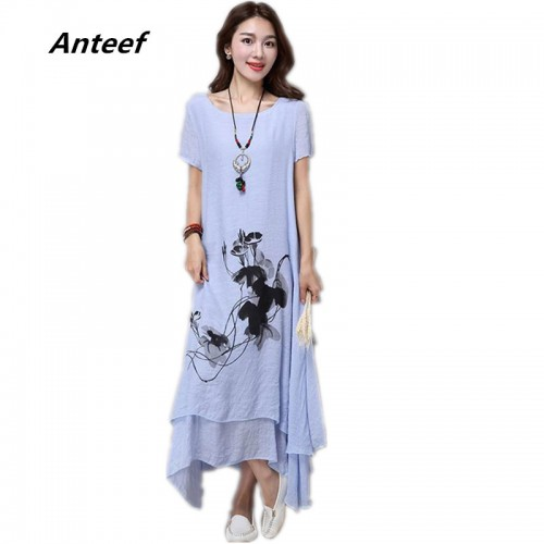 Fashion Cotton Linen Vintage Printed Casual Loose Long Dress