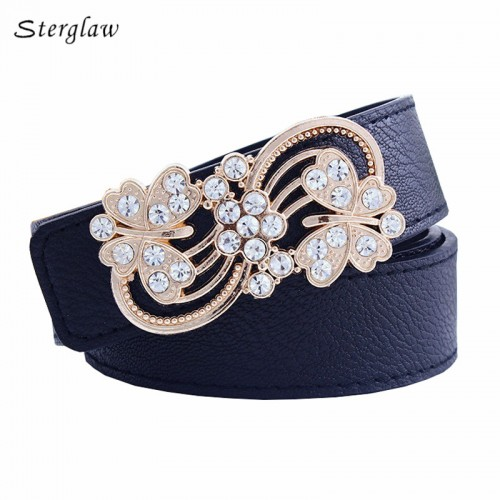 Casual belts for women fashion leisure hollow flower belt buckle 3.7 wide belt