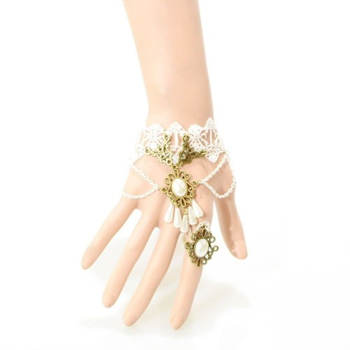 Gothic Tattoo Lace Bracelet Chain Finger Classical Womens Retro Vintage Ring