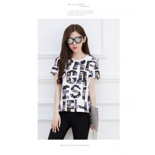 korean letters Slim Short Sleeves shirt