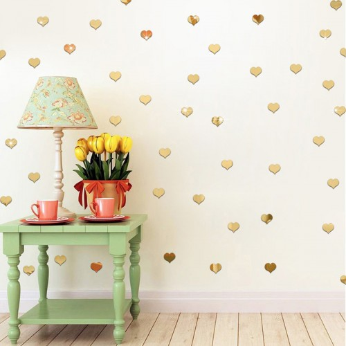 100pcs 3D Acrylic Mirror Heart Wall Sticker