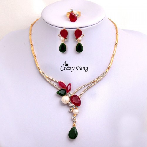 Imitation Pearl Chain Flower 3pcs Wedding Jewelry Set