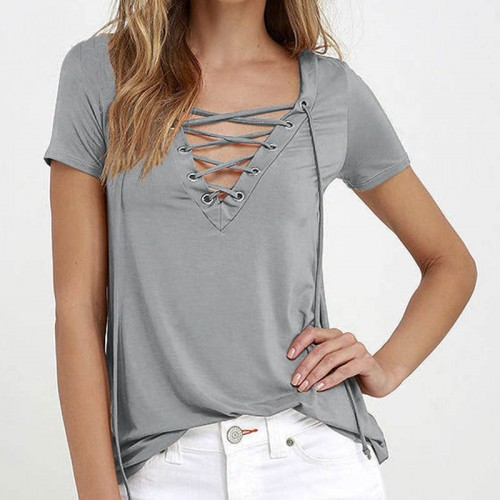 Owlprincess Hollow out Strappy Front Causal Short Sleeve Top Grey