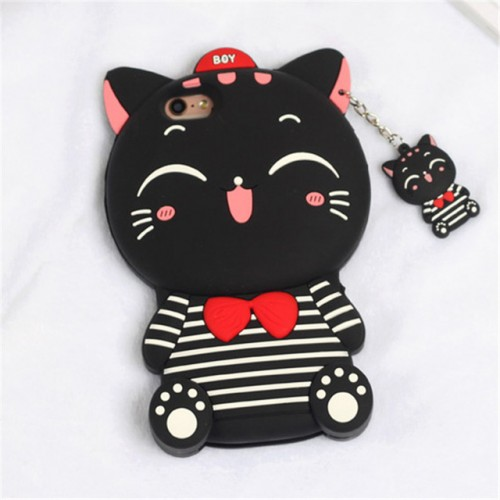 Smile Cat Black 3D Soft Silicone Phone Case Cover for iPhone