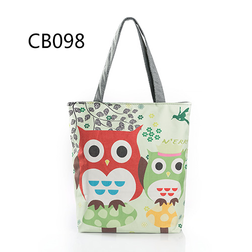 Floral And Owl Printed Women's Casual Tote Female Daily Use Female Shopping Bag