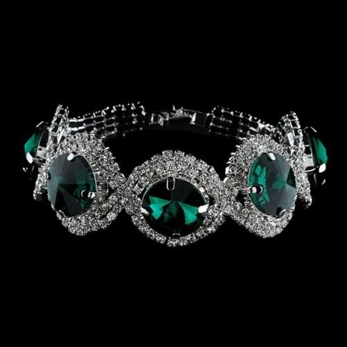 Silver Plated Green Rhinestone Bracelet