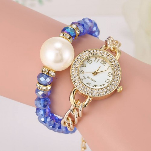 Luxury Rhinestone Pearl Crystal Beads Watch