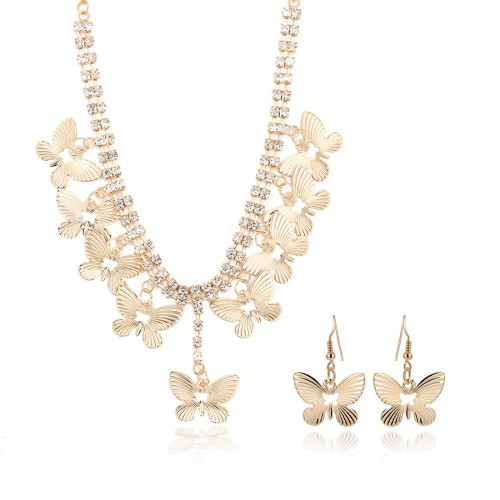 Gold Plated Chain Butterfly Necklace Earrings Jewelry set