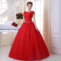 Beautiful Red Double Shoulders Lace Up Bridal Gown