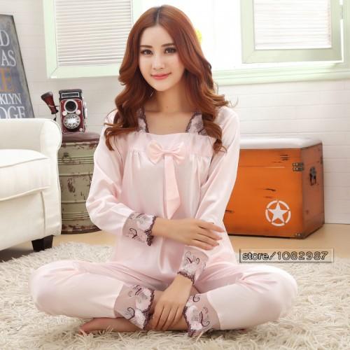 Silk Women Pajama Set for Sleepwear Nightdress Peach
