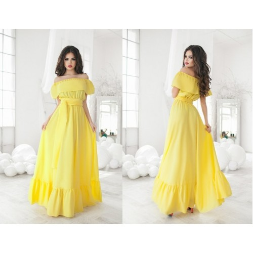 Solid Summer Off The Shoulder Slash Neck Brief Style Loose Floor-Length Polyester Dress Yellow