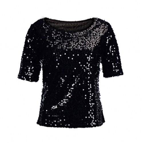 Women Blouse Shirt O Neck Glitter Half Sleeve