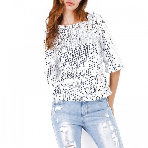 Womens Sequins Glitter Bling Tops Shirts Round Neck Blouse