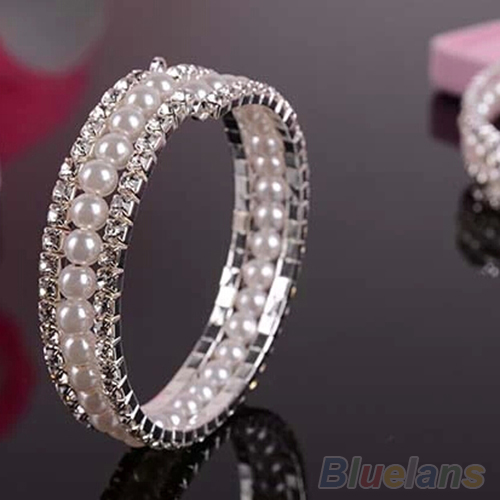 2 Rows Rhinestone  Pearls Crystal Bangle Bracelet