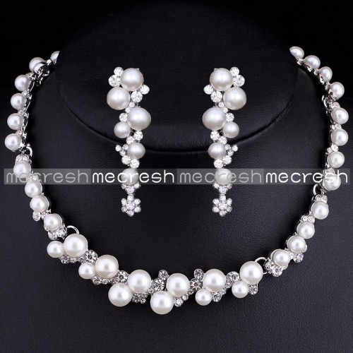 Pearl  Jewelry Sets Silver Plated Flower Choker Necklace
