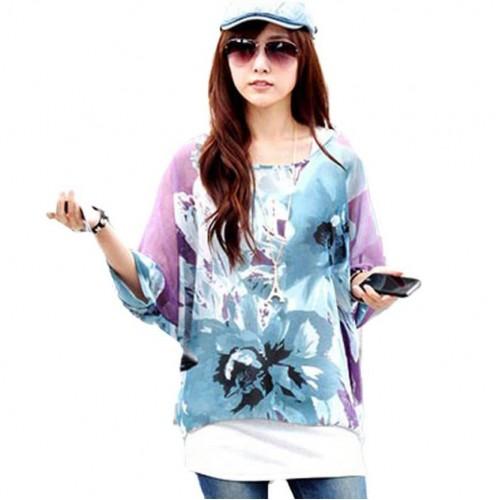 Printed Batwing Dolman Sleeve Chiffon Boho Loose Blouse Shirt