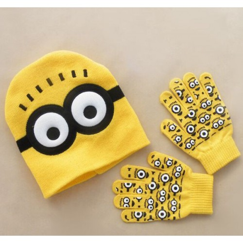 Yellow Autumn Winter Girls Boys Warm Cap Knitted Children Hat Gloves Set