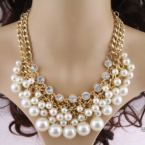 Pearls Gold Link Chain Collar Choker Necklace