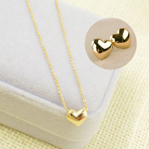 Elegant Gold Heart Necklace Earring Jewelry Set