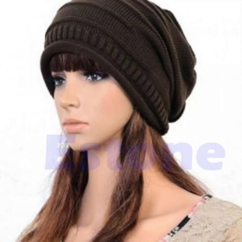 Brown Unisex Oversized Slouch Cap Plicate Baggy Beanie Knit Crochet Ski Hat
