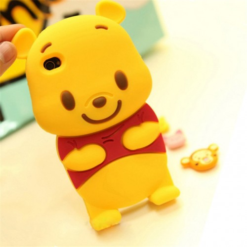 Pooh 3D Soft Silicone Phone Case Cover for iPhone