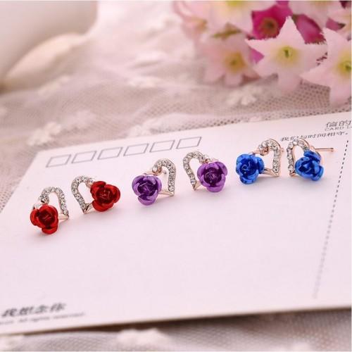 Rhinestone Heart-shaped Rose Flower Stud Earrings