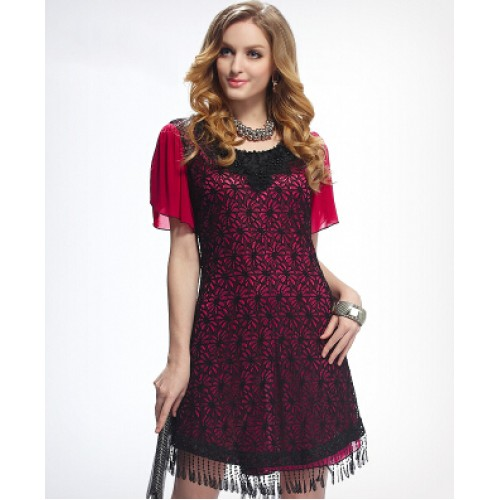Elegant Lace Short Sleeve Floral Hollow Out Dress