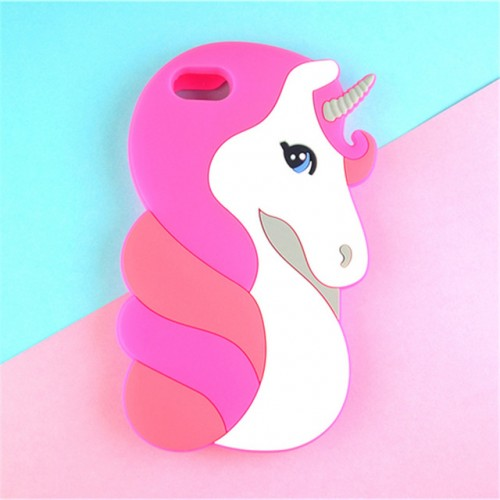 Unicorn pink 3D Soft Silicone Phone Case Cover for iPhone