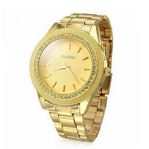 Rhinestone Golden Stainless Steel Wrist Watch