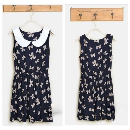 Casual Bow Pattern Cotton Dress