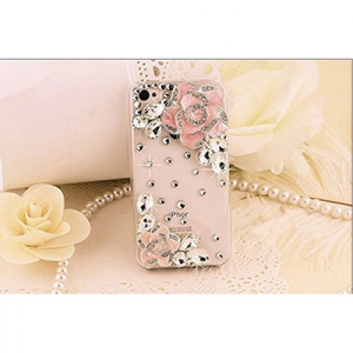 Pink Rose Fashion Bling Crystal Pearl Rhinestone Hard Clear Case Cover Transparent For Samsung and iPhone