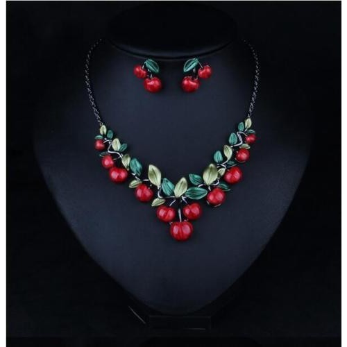 Vintage Cherry Fruit Neckalce Earring Set