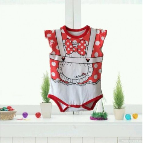 Baby Cartoon logo Sleeveless Romper Red & White