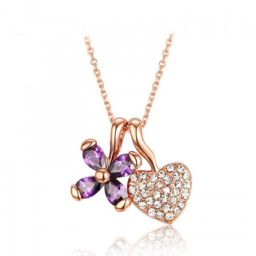 Romantic Flower&Heart Necklace Pendants